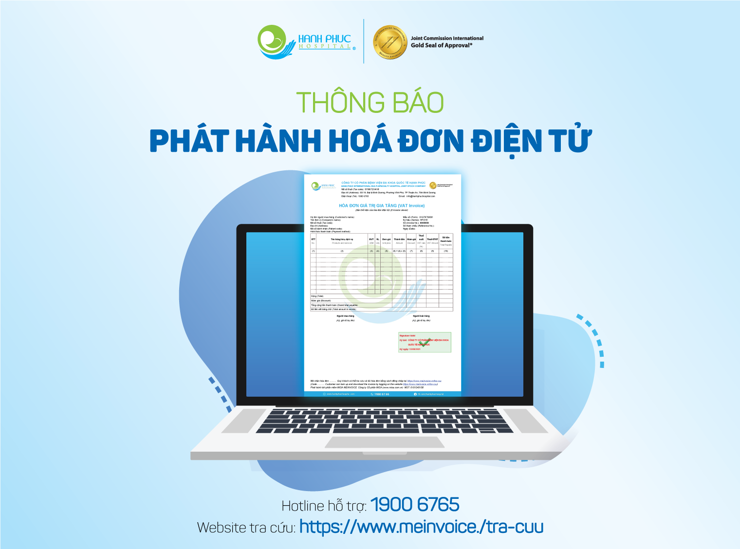 [THÔNG BÁO] BVQT Hạnh Phúc phát hành Hoá đơn điện tử từ ngày 01/09/2021